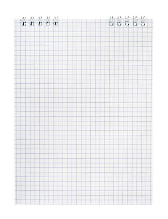 Spiral notepad with squared paper isolated on white.