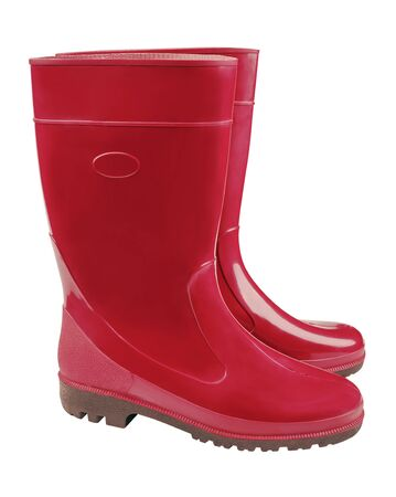 Women's color rubber boots isolated on white.