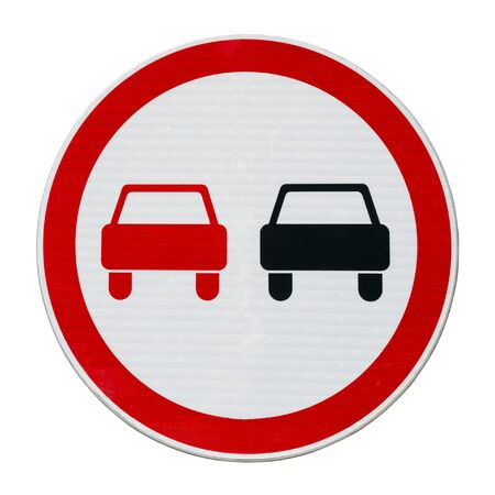 No overtaking road sign isolated on a white square