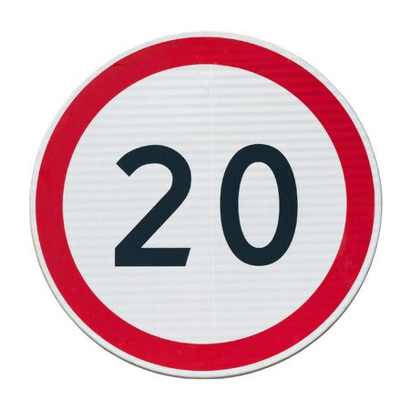 Speed limit sign 20 isolated on a white square.