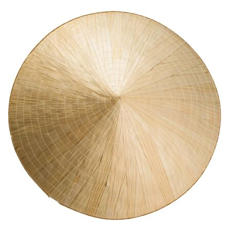 Asian cone straw hat isolated on white. Top view. Banco de Imagens