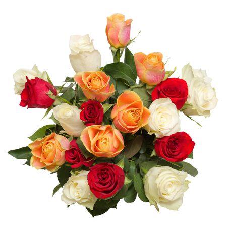 白に隔離された19本の美しいバラの花束。