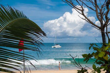 Beautiful sea view with a catamaran.