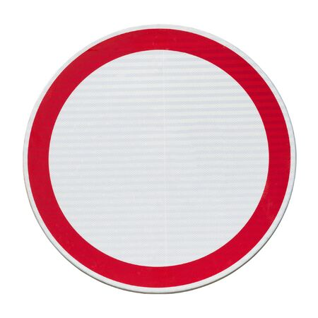 Traffic forbidden road sign isolated on white.