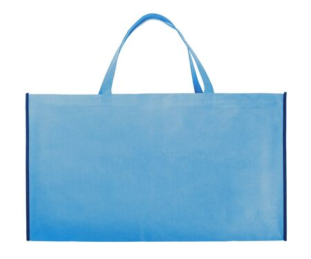 Blue non-woven bag isolated on white.