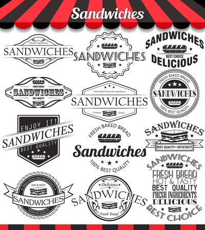 delicatessen: Vector illustration set of sandwiches retro vintage labels, badges
