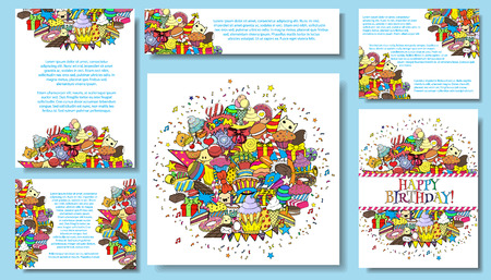 Set vector card templates with birthday party cartoon doodles background