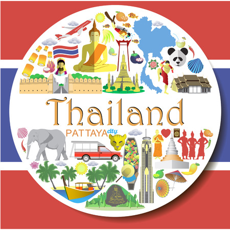 bangkok: Thailand round background. Set flat vector icons and symbols of Thailand Illustration