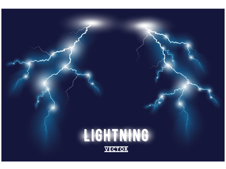 electricity: Two vector blue oblique branchy lightning lines. Illustration