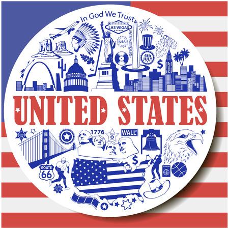 United States round background. Set vector icons and symbols