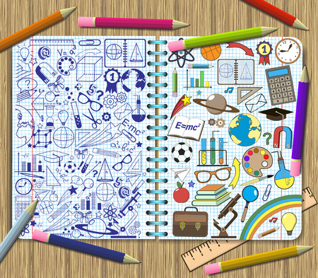 School items doodles on a sheets of exercise book background.