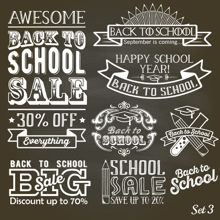 back to back: Back to School label set on chalkboard. School sale sign retro style