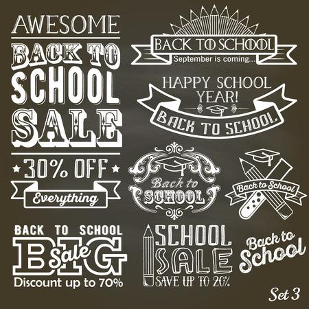 Back to School label set on chalkboard. School sale sign retro style