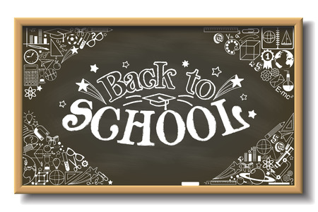 caligraphic: School chalkboard with back to school text and whit different educational elements Illustration