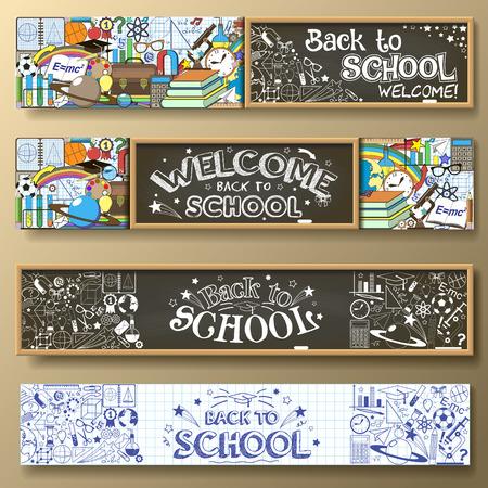SCUOLA: Back to School banner orizzontale con scarabocchio di cancelleria e altre materie scolastiche. Standard per proporzioni web.