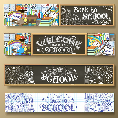 Back to School horizontal banners with doodle stationery and other school subjects. Standard for web proportions. Vettoriali