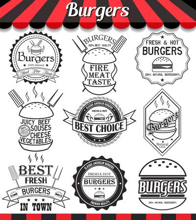 logos restaurantes: Conjunto de etiquetas, pegatinas, insignias y logotipos elementos para hamburguesa y hamburguesa