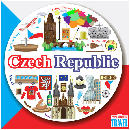 Czech Republic round background. Vector colofull flat icons and symbols set 일러스트