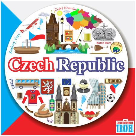 Czech Republic round background. Vector colofull flat icons and symbols set Stock Illustratie