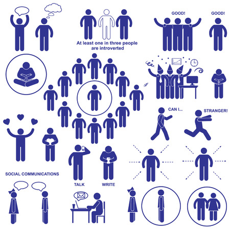 people icon: Introverts and extroverts vector stick human figures pictograms.