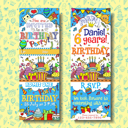 boarding card: Vector birthday party invitation pass ticket . Face and back sides with doodles background design
