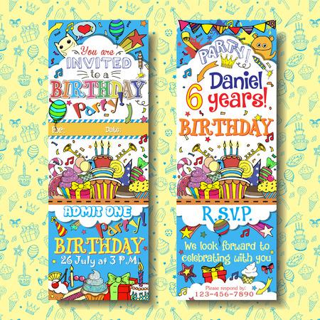 urodziny: Wektor zaproszenie na przyjęcie urodzinowe biletów karnet. Twarzy i tylne strony z projektu Doodles tła Ilustracja