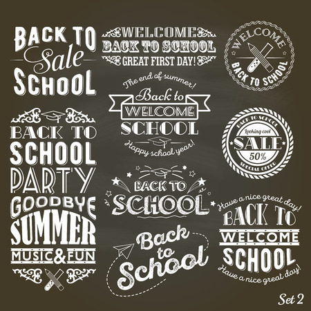 A set of vintage style Back to School sale and party on Black Chalkboard Background Vectores
