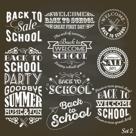 back: Un conjunto de estilo vintage Volver a la venta la escuela y la fiesta en el fondo Negro Pizarra Vectores