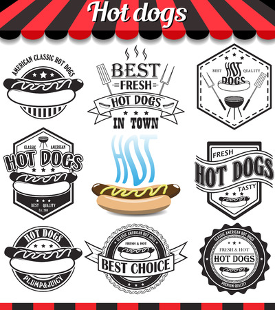 Hot dogs collection of vector signs, symbols and icons.  Vettoriali