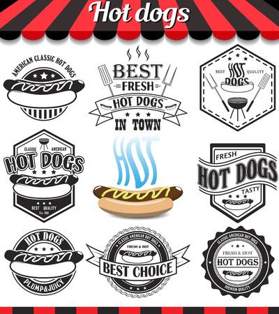 ristorante: Hot dog collezione di segni vettoriali, simboli e icone.
