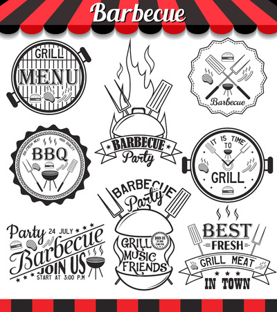 Collection of vector barbecue signs, symbols and icons. Set of grill design elements. BBQ badges stickers and labels food set.