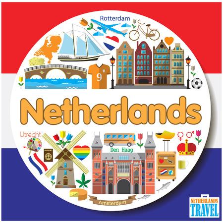 Niederlande Runde Hintergrund. Vektor farbenfrohes flachen Icons und Symbole gesetzt Standard-Bild - 44122609