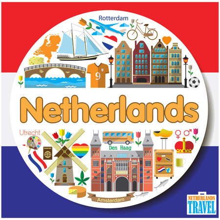 Netherlands round background. Vector colorfull flat icons and symbols set