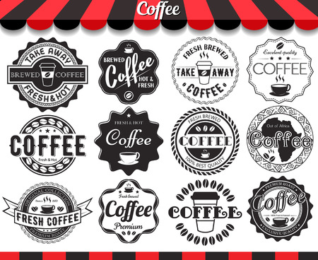Vintage retro coffee elements styled design, frames, vintage labels and badges