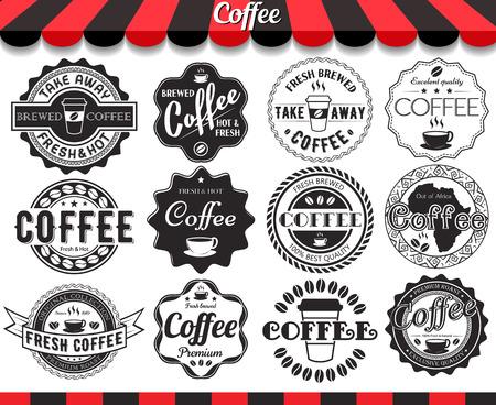 Vintage retro koffie elementen gestileerd ontwerp, frames, vintage etiketten en insignes Stock Illustratie