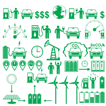 electric power station: Vector electric cars stick pictograms set. Ecology and environment infographics elements