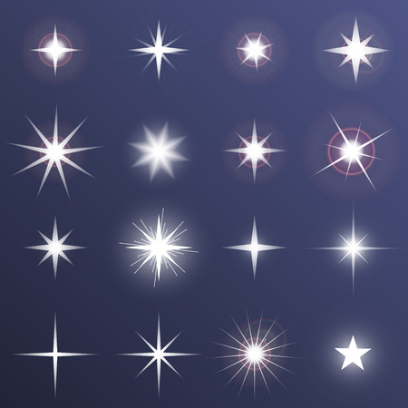 Set of glowing light effect stars bursts with sparkles on dark background. Transparent vector stars