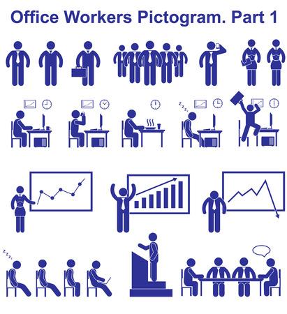 oficina trabajando: Trabajadores Set de oficina pictogramas. Iconos de negocio y los s�mbolos de la gente