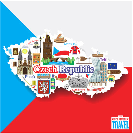 Czech Republic background. Set vector icons and symbols in form of map Çizim