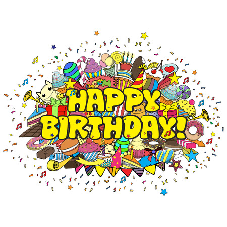 birthday celebration: Birthday party hand drawn doodles elements background. Vector cartoon illustration concept