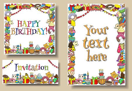 joyeux anniversaire: Définir des cartes de voeux d'anniversaire modèles de fête avec des bonbons doodles frontières.