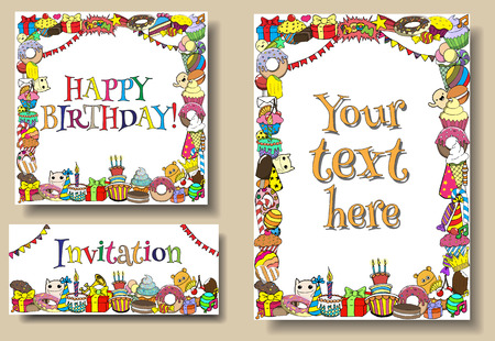 happy people white background: Set greeting cards birthday party templates with sweets doodles borders.