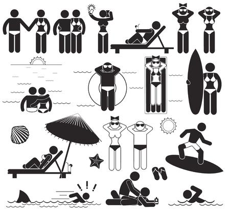 Sommer-Strand-Urlaub. Vektor-Set menschliche Stick Piktogramme und Symbole Urlaub am Meer Standard-Bild - 44328535
