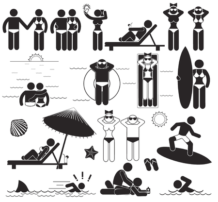 Summer beach vacations. Vector set human stick pictograms and symbols vacations at the sea