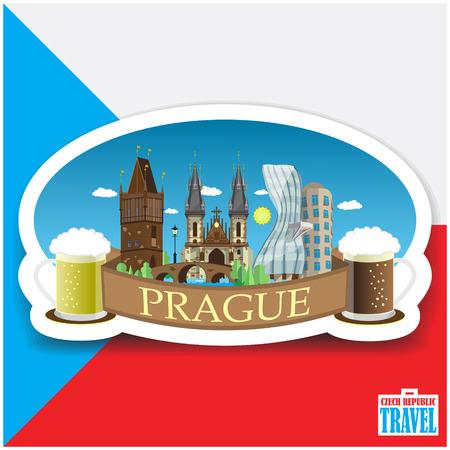 czech: Prague cityscape landmarks. Czech Republic Flat design vector illustration. Illustration