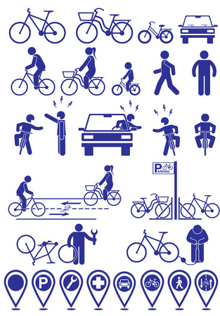 cyclist silhouette: Vector set pictograms bicycle infrastructure icons. Vector bike accessories set