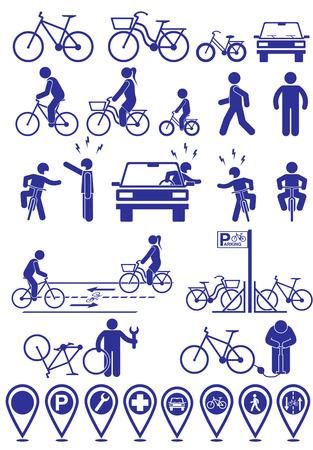 Wektor zestaw ikon piktogramy infrastruktury rowerowej. Wektor zestaw akcesoriów rowerowych Ilustracje wektorowe