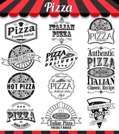 Pizzeria menu vintage design elements and badges set. Collection of vector pizza signs, symbols and icons.  イラスト・ベクター素材