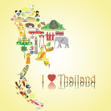asian culture: Thailand map. Set color vector icons and symbols in form of map