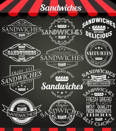 food shop: White set of sandwiches retro vintage labels, badges and logos on blackboard.